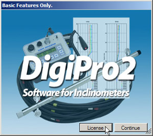 "clicking ""license"" on digipro2 start screen"