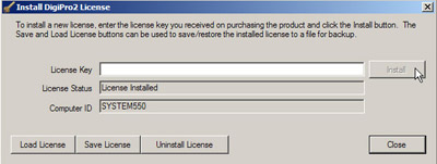 "wait for license status field to say ""license installed"", then click close"