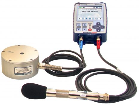 Micromate attached to vibration monitor and geophone